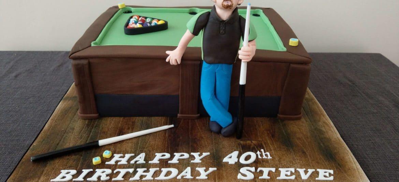 Billiards with figure fondant birthday cake by Sugar Swirls & Sprinkles