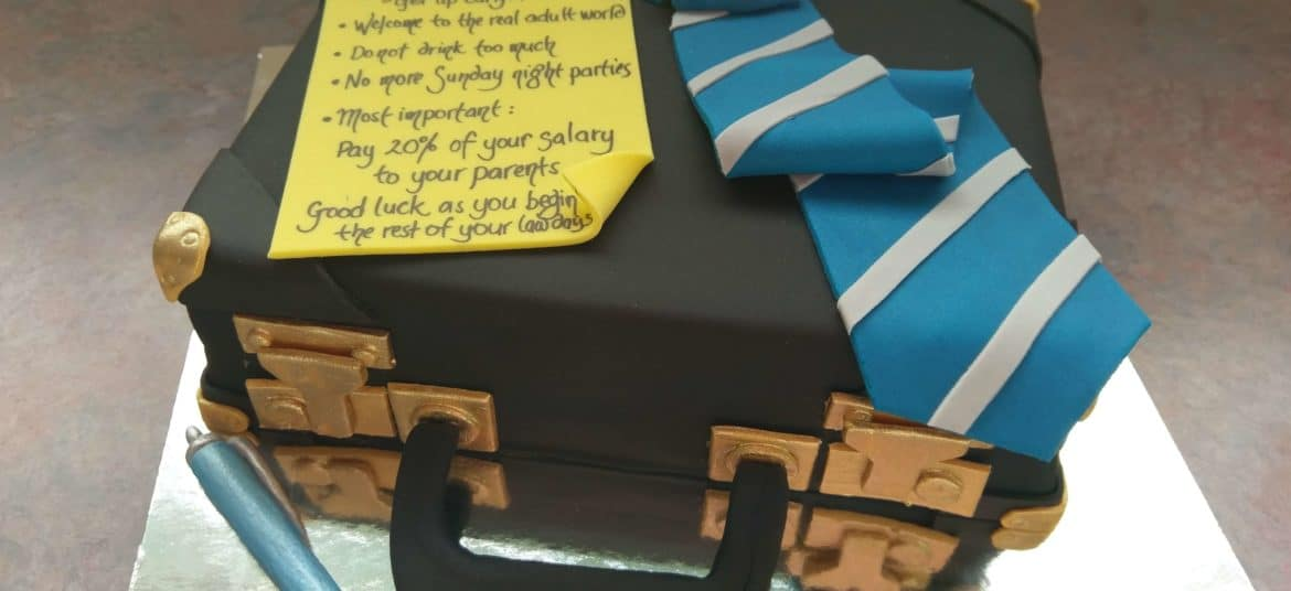 Suitcase and tie fondant cake by Sugar Swirls & Sprinkles